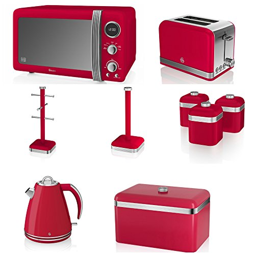 Swan Red Kitchen Appliance Retro Set Of 9 - Red Retro Digital Microwave, 20 Litre, 800 Watt, 1.5 Litre Jug Kettle & Retro Stylish 2 Slice Toaster Retro Bread Bin, 3 Canisters, Towel Pole And 6 Mug Tree Set