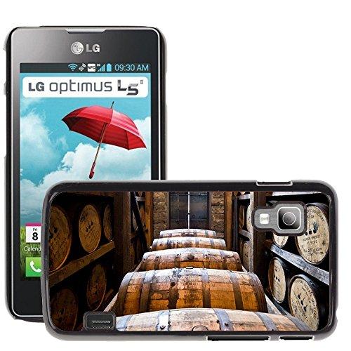 Hülle Case Schutzhülle Cover Premium Case // M00239358 Brennerei Fässer aus Holz Kegs Bourbon // LG Optimus L5 II Dual E455 / E460 (Dual Keg)
