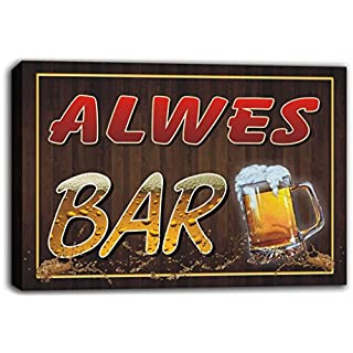 scw3-102178 ALWES Name Home Bar Pub Beer Mugs Cheers Stretched Canvas Print Sign