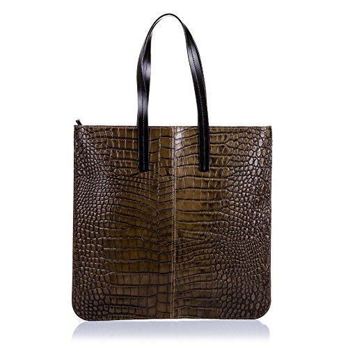 Firenze ARTEGIANI.Bolso Shopping Bag de Mujer Piel auténtica.Bolso Grande Cuero Genuino Grabado...