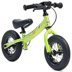 BIKESTAR - Bicicleta de Equilibrio para niños de 2 años con neumáticos de Aire y Frenos, edición Deportiva de 10 Pulgadas, Color Verde Brillante