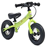 BIKESTAR Running Balance Bike for Kids 2 year old with air tires and brakes | 10 Inch Sport Edition | Brilliant Green