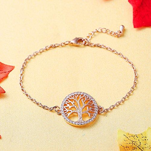 Imagen de ateielli® pulsera árbol de la vida chapado en oro rosa regalo mujer jw b205 alternativa