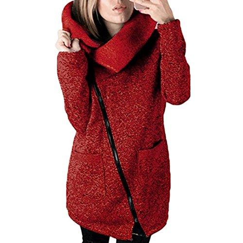Damen Strickjacke Xinan Herbst Winter Hooded Coat Long Zipper Pullover Outwear Mantel (XL, ❤️ Weinrot) (Jeans Chiffon)