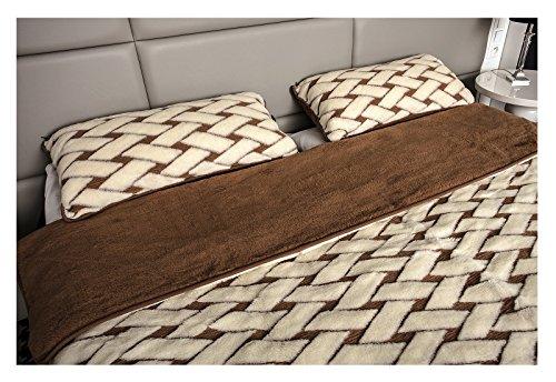 Mayaadi-Home Kombi-Set Bettdecke und 2 Kissen Reine Merino-Schafschurwolle Naturprodukt Kariert 155x200cm Creme-Braun