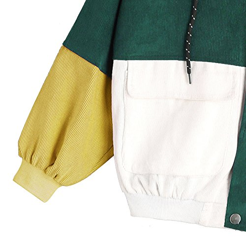 CharMma Damen Jacke Lässig Farbblock Kordsamt Trikot mit Reißverschluss Locker Kapuzenjacke Dunkelgrün