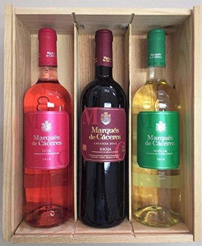 Caja De Madera 3 Botellas - Marques De Caceres - Vino Tinto Crianza/vino Blanco Joven/vino Rosado
