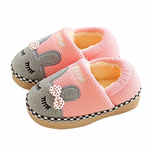 SITAILE Jungen Mädchen Winter Pantoffeln Slippers Schuhe mit Plüsch Gefüttert Wärme Weiche Rutschfeste Hausschuhe für Kinder Baby Home C Rosa 22/24 (Baby-rosa Heels)