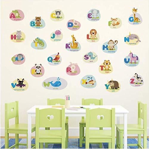 wubaiaiwo Cartoon Tier Englisch Alphabet Wandaufkleber Kinder Baby Früherziehung Wandtattoos Dekoration Buchstaben Tapete Kunst