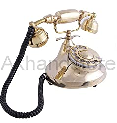 Akhandstore Table Golden Brass Retro Telephone Old Rotary Dial Landline Telephone (WORKING ONLY BSNL and MTNL)