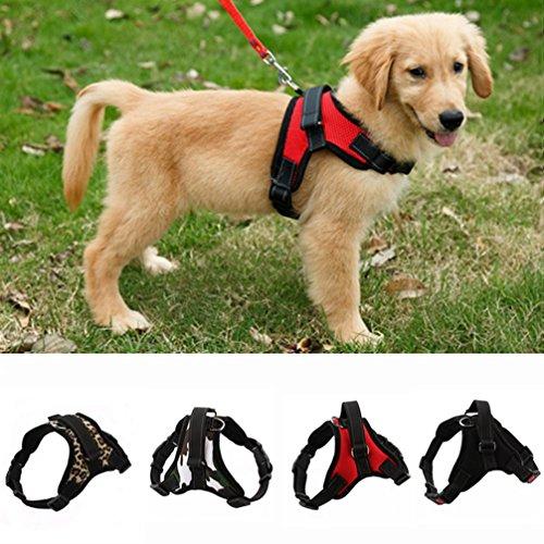 LA VIE Hundegeschirr Einstellbar Nylon Weiche Bequeme Einfach Sicher Kontrolle Geschirr für Kleiner Mittlerer und Großer Hunde Welpen Haustier M Rot - Welpen Geschirre