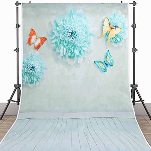BPS Fotografie hintergrund Fotostudio Soff von Vinyl 1.5 x 0.9 m / 5 x 3 ft Wasserdicht Foto Hintergrund Stoff für Baby-Porträts oder kleine Artikel Fotografie grüne Farbe floral am unteren Holzboden