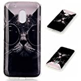 DETUOSI® Moto G4 Play Hülle, Silicon Schutzhülle TPU Gel Case Cover für Lenovo Moto G4 Play (5 Zoll) Handytasche HandyHülle Etui Schale - Cool Cat