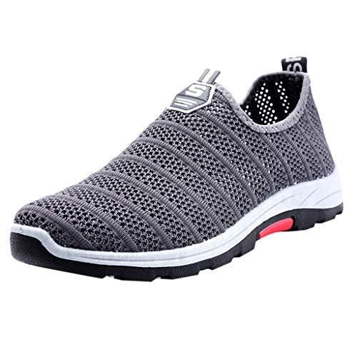 Damen Sportschuhe Slip Ons Laufschuhe Sommer Mesh Atmungsaktiv Turnschuhe Freizeitschuhe Sneaker Leichtgewicht Athletic Schuhe Bequeme Schuhe Halbschuhe (EU:39, Grau) -
