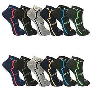 BestSale247, 12paia di calze da uomo, calzini sport e tempo libero, gambaletti, fantasmini, cotone, 39-42, 43-46, Fantasia 1, 43-46