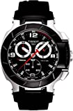 Orologio Tissot T-Race T0484172705700 Al quarzo (batteria) Acciaio Quandrante Nero Cinturino Caucciu'