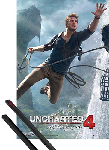 Poster + Sospensione : Uncharted Poster Stampa (91x61 cm) 4, A Thief's End E Coppia Di Barre Porta Poster Nere 1art1®