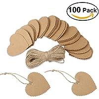 Kobwa 100pcs papel de pintado a diseño de corazón de papel kraft festoneado con forma de corazón con cuerda 10m (Marrón)