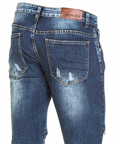 BLZ jeans - verblasste blaue Jeans getragen und Reißverschluss Fantasie Mann Blau