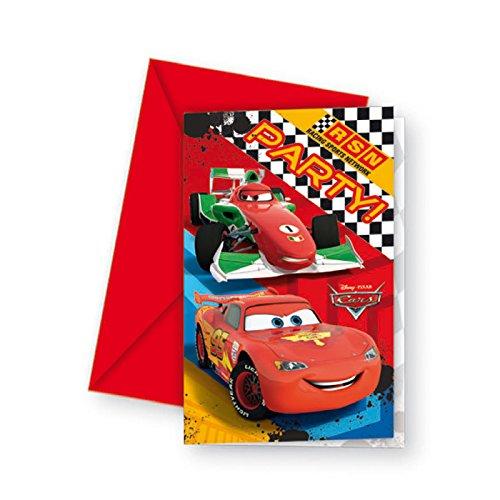 Kostüm Disney Party Einladungen - PARTY DISCOUNT Einladungskarten Cars RSN, 6 Stück