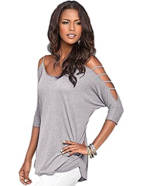 Butterme Mujer Camiseta Casual 3/4 Mangas Hombros Verano Camisas De Hombro Frío Blusas Elegant Tank Top