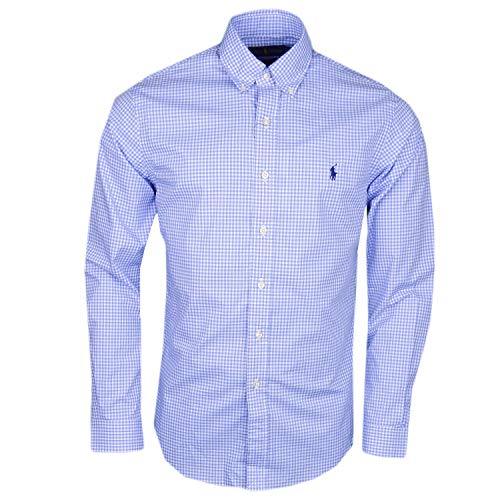Polo ralph lauren long sleeve sport shirt camicia uomo slim fit mod: sl bd ppc sp-710705269 (s, blue)