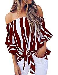 Winwintom 2018 Grande Mode V/êTements La Mode des Femmes /ÉPaule Couper Lac/éR/é Manche T-Shirt Creux Tops D/éContract/éS Broches De Clip Hauts Creux