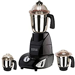 MasterClass Sanyo Black Color 600Watts Mixer Juicer Grinder with 3 Jar (1 Large Jar, 1 Medium Jar and 1 Chuntey Jar)