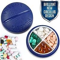 Pillenbox Rund für Reisen - Mini kompakter Pillenbehälter mit 4 Fächern zur Organisation für Vitamine und Medikamente... preisvergleich bei billige-tabletten.eu