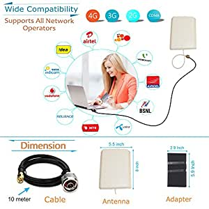 """FNS 4G,3G,GSM & CDMA 12dbi High Gain Network Antenna For Mobile, Data Card & Router With 10 Meter Cable & 5.9"""" Big Adapter For All Network Operators"""