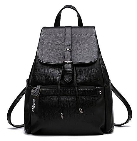 Tibes wasserdicht kleinen Rucksack Handtasche,aus PU-Leder Schwarz