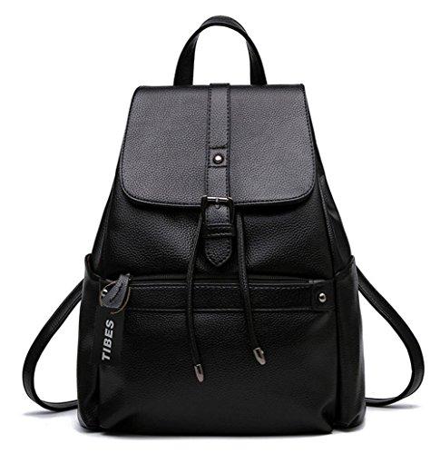 Tibes Zaino Borsello Donna Zaino Per Scuola Borsa Zaino Backpack Nero