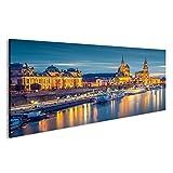 islandburner Bild Bilder auf Leinwand Dresden am Abend Fluss Poster, Leinwandbild, Wandbilder