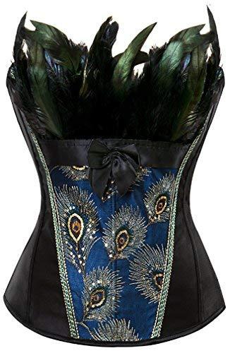 EUDOLAH Damen Vintage Gothic Corsage Burlesque Vollbrust Korsett Korsagenkleid mit Rock Petticoat Halloween Kostüme Pfau Pattern mit Federn Übergrößen A-Schwarz 4XL