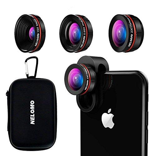Kit de lentes para smartphone HD - Kit de lentes para iPhone X / 8 / 7plus / 7 / 6splus / 6S, Samsung S8 + / S8 / y otros (lente de ojo de pez de 230 °, lente de 0.65 x Super Gran Angular, 15 x lente Super Macro)