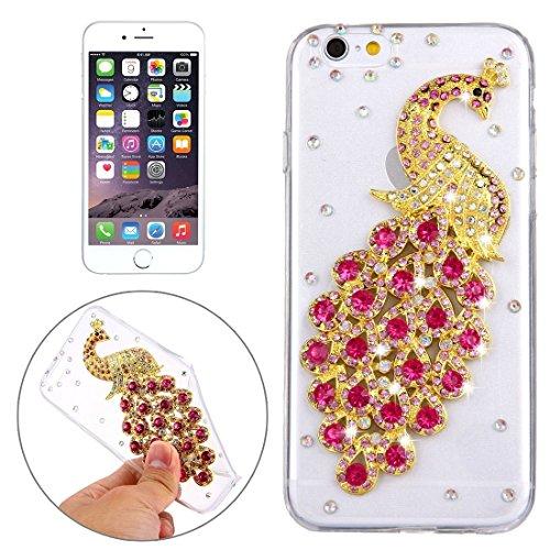 Wkae Case Cover Für iPhone 6 &6s Diamant verkrustete Glas-Katze-Perlen-Bell-Muster-weiche TPU-Schutzhülle Cover-Rückseite ( SKU : IP6G5600B ) IP6G5600P