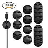#9: Cable Organizer Clips - Self-Adhesive Desk Cable Organiser, Durable Cord Management,Anti Fall/Drop, Wire Holder, Wire Management System, Pack of 10, Black Color. by UrbanClan