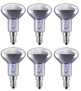 6 x R50 Sportlights 40W SES E14 Reflector Spot Light Bulbs, Small Edison Screw Cap, NR50 Incandescent Lamps from Tesco, Status, Asda, etc