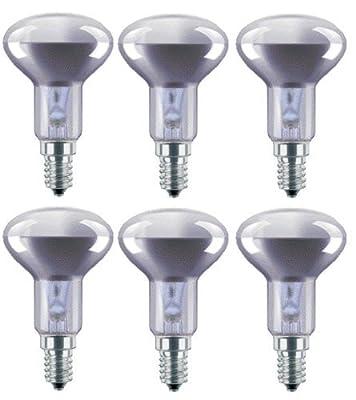 6 x R50 Sportlights 40W SES E14 Reflector Spot Light Bulbs, Small Edison Screw Cap, NR50 Incandescent Lamps by Tesco, Status, Asda, etc