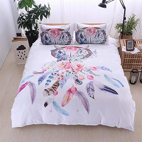 Gokfom Hipster Aquarell Bettwäsche Set Dreamcatcher Federn Bettbezug Set Bohemian Printed 3Pcs...