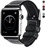 7 Colors for Apple Watch Strap, Fullmosa Jan Series Lichi Texture Calf Leather Band Replacement Strap/Band with Stainless Steel Clasp for iWatch Series 1 2 3 Sport and Edition Versions 2015 2016 2017, Black,42mm