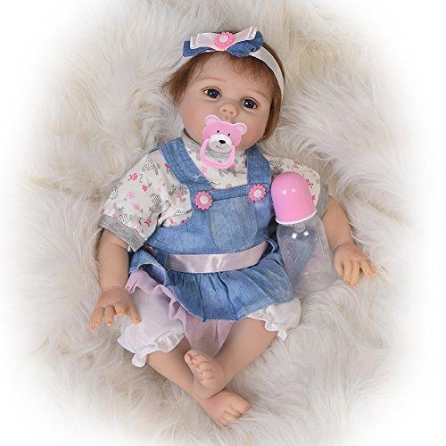 KEIUMI Verdaderamente Real Life Baby Muñecas Reborn Silicona Suave 22 Pulgadas Bebés Chica Niño Muñeca Juguete de Simulación Realista Niños Cumpleaños Regalo de Navidad