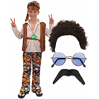 Boys Girls 60s 70s Hippy Fancy Dress Costume Outfit with Wig, Glasses & Moustache (4-6 years)
