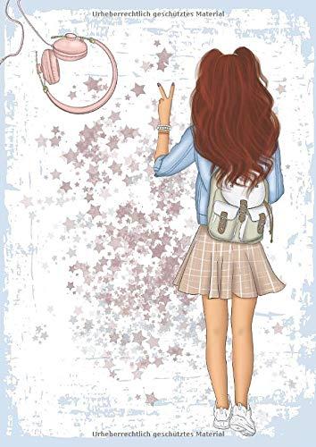 Mein Kalender 2019 - 2020: Schülerkalender für freche Mädchen - Wochenplaner von August 2019 bis Mitte September 2020 - 1 Woche auf 2 Seiten - ... Aufkleber Download  - girly hellblau - DIN A5 -
