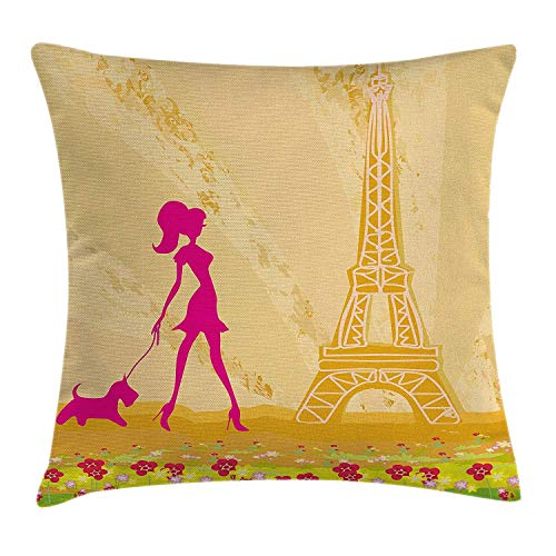 Teen Room Throw Pillow Cushion Cover, Pink Silhouette A Girl The Dog Eiffel Tower in Paris Design, Decorative Square Accent Pillow Case, 18 X 18 Inches, Apricot Hot Pink