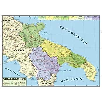 Regione Campania Cartina Politica.Carta Geografica Murale Regionale Campania 100x140