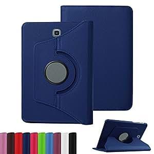 Custodia cover 360 Gradi flip rotabile litchi texture eco pelle BLU con stand per Samsung Galaxy Tab E 9.6 T560 + pellicola protettiva + pennino capacitivo + pannetto pulisci schermo digital bay