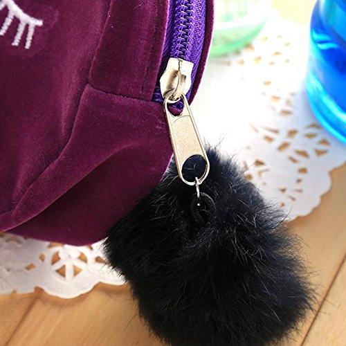 Leisial Sacchetto Sveglio della rRaccolta di Arte della Holding delle Signore di Corsa del Sacchetto di Trucco del Gatto Rooso Viola