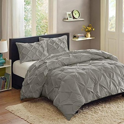 Better Homes and Gardens Pintuck 3-Piece Bedding Comforter Mini Set, Grey - FULL/QUEEN by Better Homes and Gardens (Mini Pintuck)