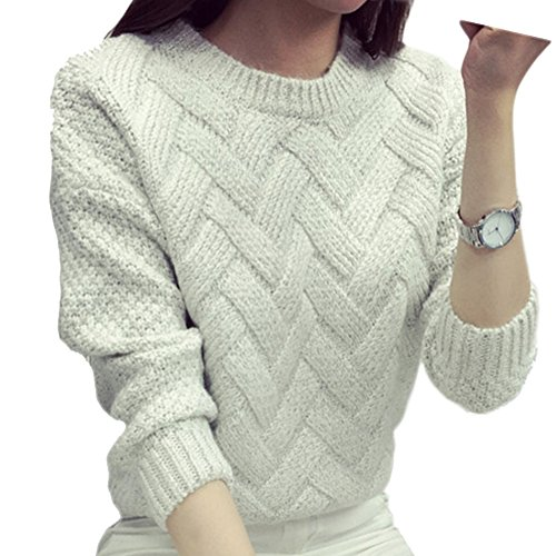 Damen Sweater Warm Langarm Pulli Pullover Knit Pulli Strickpullover Tops Creme (Top Knit Creme)